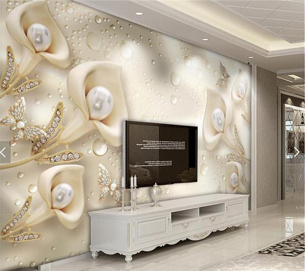 best selling 3D Embossed Flower Jewelry Pearls Photo Wallpaper Mural Living Room Sofa TV Background Wall Decor papier peint 3d Custom Size