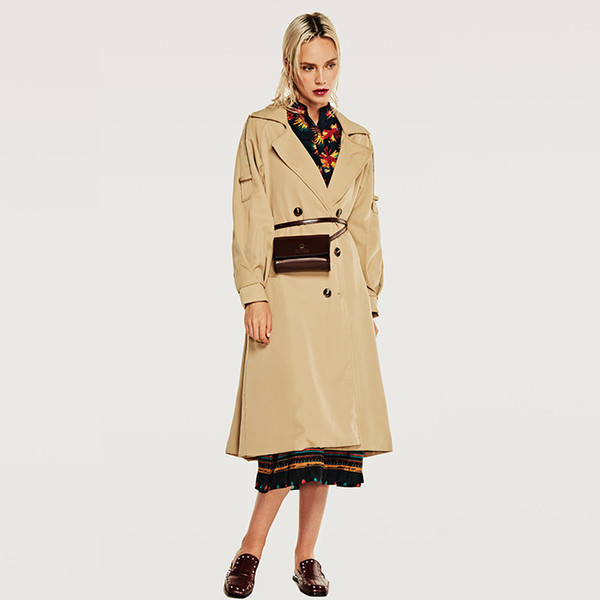 dust coat grows in fall new women's wholesale in Europe and the cultivate one's morality lady trench coat lapels
