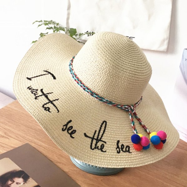 2018 summer beach Raffia Sun Hats floppy wide brim straw hat Caps Letter Embroidery Ribbon Lace Up Outdoor Caps shade hat white