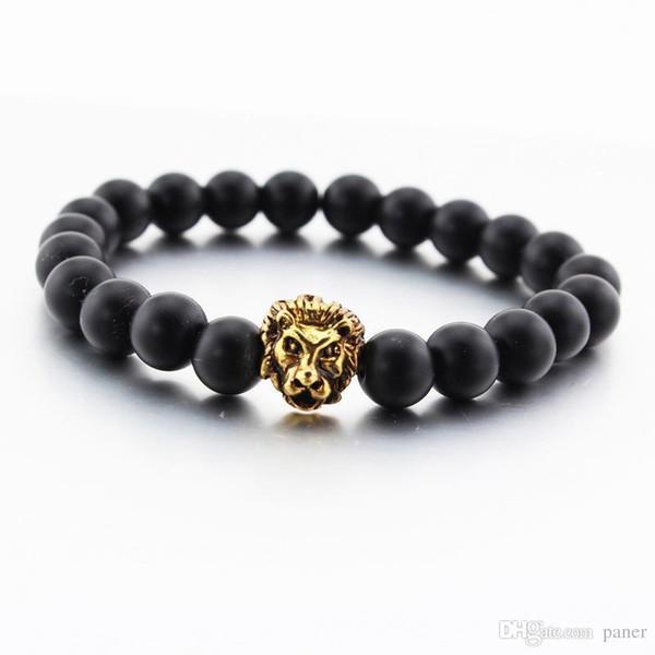 Wholesale- New Men's Black Matte Stone Lion Head Bracelet 8mm Beads