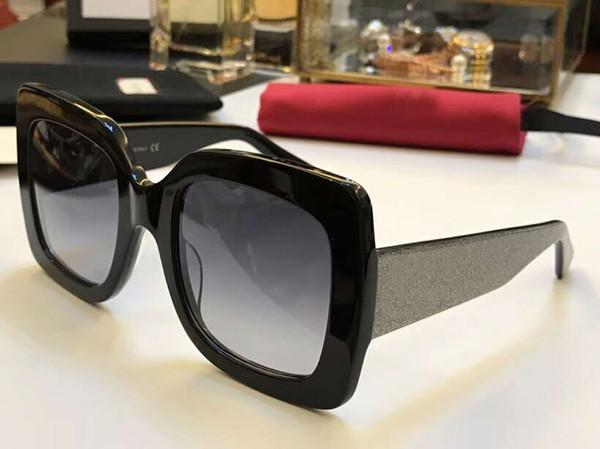 0102 Square Glitter Sunglasses Black/Grey Lens Gradient 54mm Sonnenbrile Fashion Women Designer Sunglasses Glasses 0102S New with Box