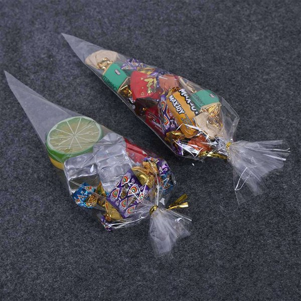 Diy Wedding Birthday Party Sweet Cellophane Clear Candy Cone Storage Bags Cheap Organza Pouches Decoration Extra Large Gift Wrap Bags Extra Wide