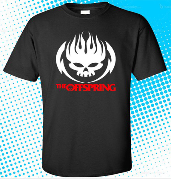 New The Offspring Skull Logo Rock Band Mens Black T-shirt Size S - 3xl Cheap Sale 100 % Cotton T Shirts For Boys The New