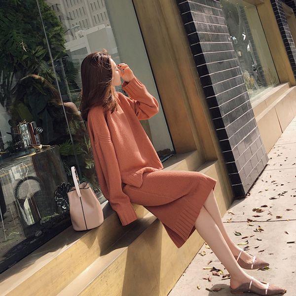 Conjunto de dos piezas coreano otoño invierno 2018 Mujeres Otoño e invierno suéter dividido coreano + Conjunto de punto falda suelta de cintura alta para mujer