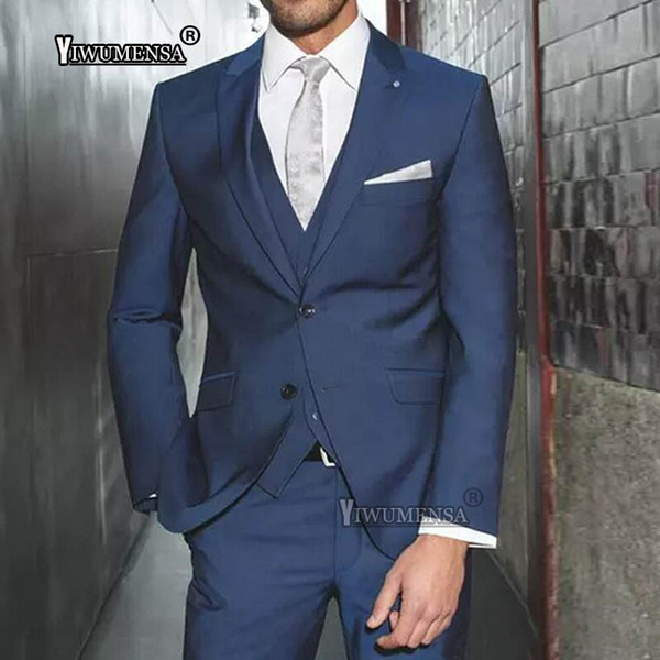 yiwumensa Handsome 2018 Two Buttons Blue Tuxedos Groomsmen The Best Man Suits Wedding Groomsman/Men Business Suits Bridegroom