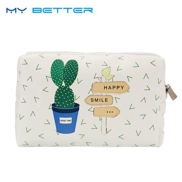 Korean Style Toiletry Bags Travel PU Leather Cosmetic Bag Women Zipper Makeup Bag High Capacity Beauty Storage Wash