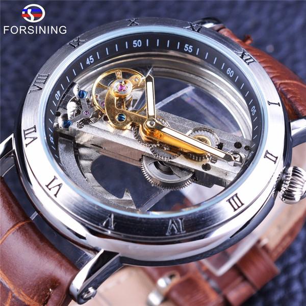 Forsining Design de Minimalismo Prata Aço À Prova D 'Água Steampunk Relógio De Pulso Dos Homens Esqueleto Automático Relógios Top Marca De Luxo
