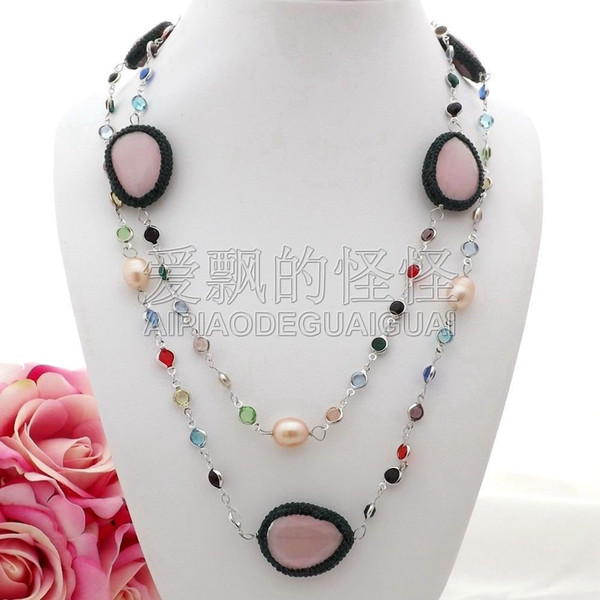 """N071704 45"""" Pink Cat's-Eye Macarsite Multi Color Crystal Chain Long Necklace"""