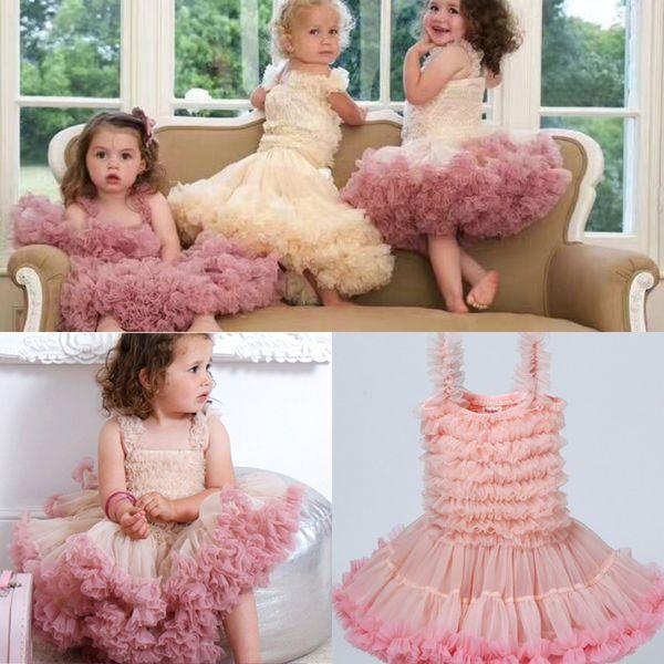 Two Pieces Cute Short Puffy Flower Girl Dresses Tulle Skirt Tolddler Cheap Mini cupcake Tutu Litter Girls Pageant Dresses