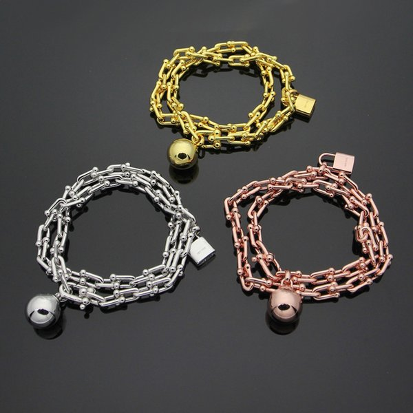 New arrival 316L stainless steel bracelet with pad lock and ball with logo for women and man bracelet in 39cm length wedding jewelry