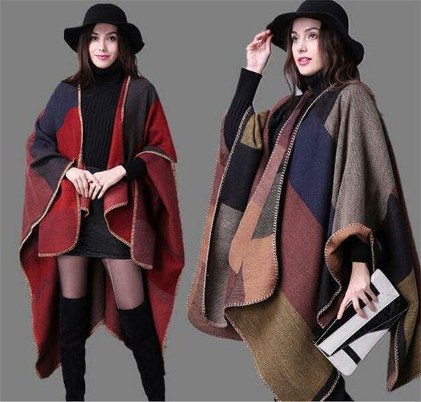 30pcs Plaid Poncho Women Vintage Scarf Floral Wrap Knit Cashmere Scarves Lady Winter Cape Shawl Cardigan Blankets Cloak Coat Sweater M319