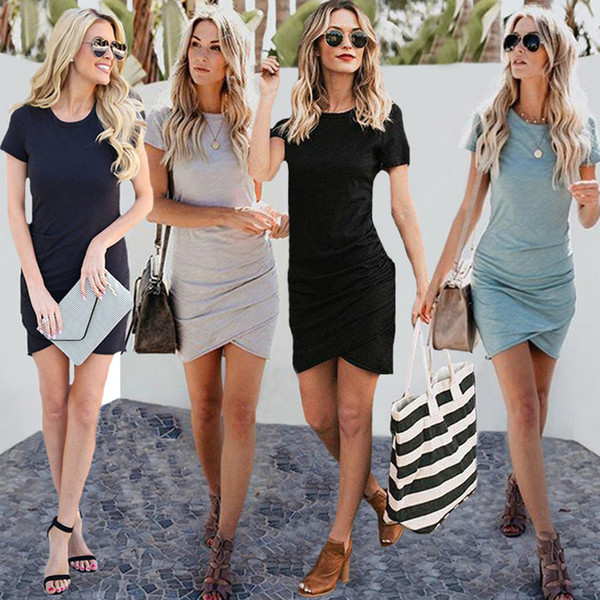 free shipping women Casual Dress is selling hot hot summer sexy round collar bag hip irregular short-sleeved dress