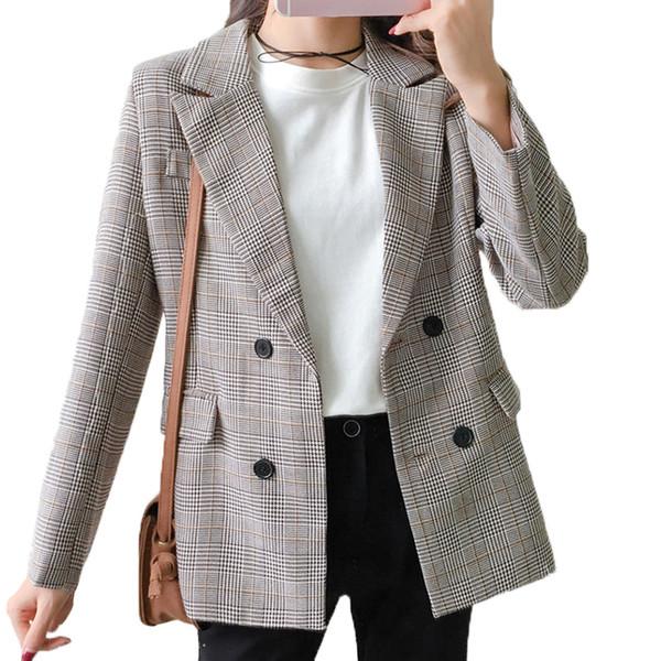 Gray Plaid Blazer Women 2018 Double Breasted Winter Coat Woman Blazers Feminino Casual Work Suit Long Sleeve Jacket Mujer Chic