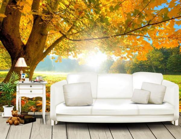 Modern Maple Tree Autumn Forest Sunshine Wallpaper Murals Photo Wall Murals 3d Wallpaper Living Room Tv Backdrop Walpaper High Resolution Wallpapers
