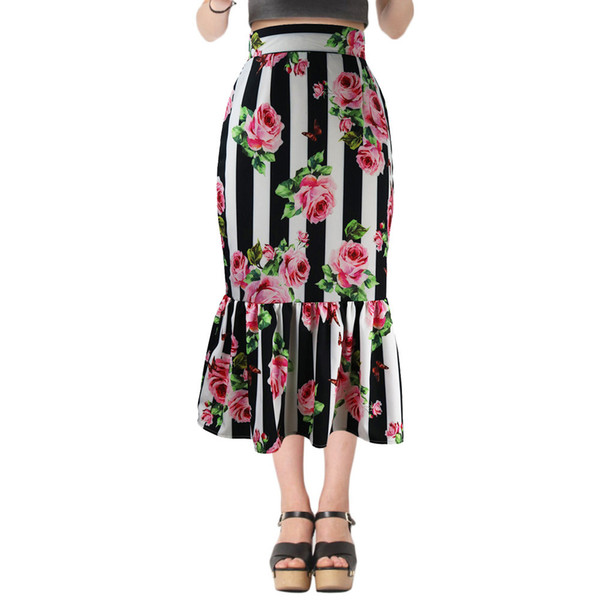 d287f051f Fashion Women 2018 Summer Rose Print Maxi Skirts Designer High Waist  Vertical Stripes Mermaid Tail Long Party Bodycon Skirts Plus Size