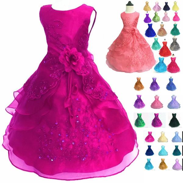 29 colori nuovi vestiti del fiore delle ragazze ricamati vestiti da principessa della damigella d'onore di nozze del partito con i vestiti convenzionali dei bambini del cerchio HH7-937