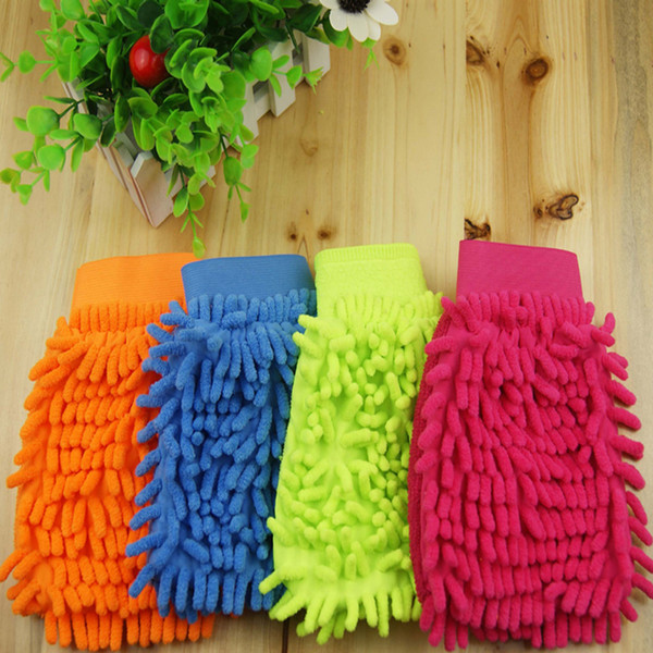 Fashion Car Wash Glove One Side Fiber Chenille Soft Towel Microfiber Cleaning Tools Household Clean Cloth