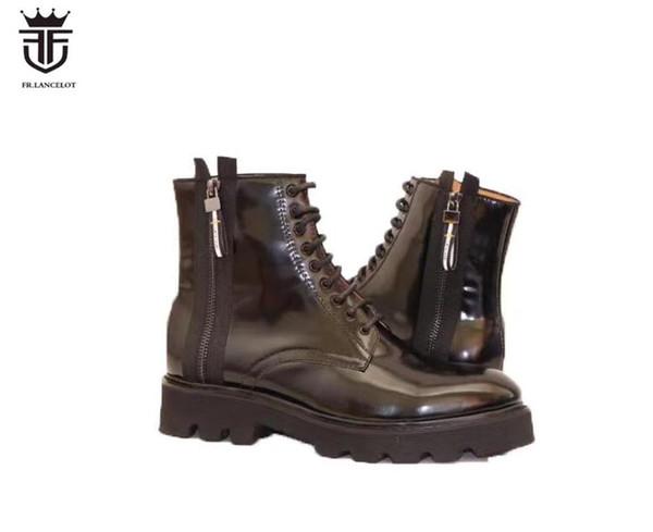2019 nuevos hombres botas negras botas de charol Martin botas para hombre tacón grueso encaje hasta tobillo botines zapatos de fiesta hombres trabajando botas