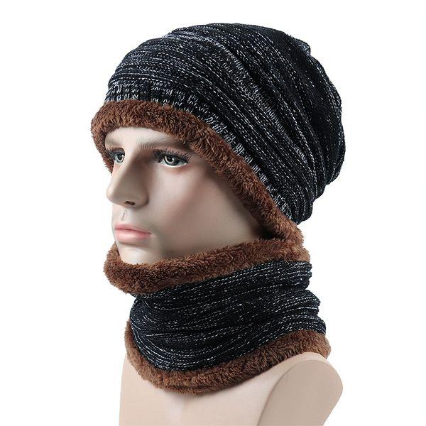 Winter Beanies Men Scarf Knitted Hat Caps Scarf Gorras Bonnet Warm Baggy Winter Hats For Men Women Skullies Beanies Hats scarves