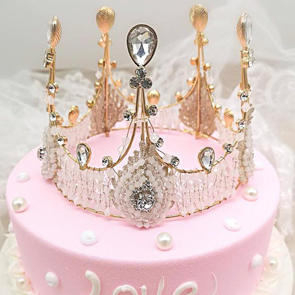 Cake Topper Lace Rhinestone Crown Cupcake Bling Decorating Supplies Birthday Party Decorations Kids Cute