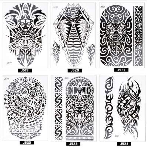 ATOMUS Beauty Decal Adesivi per tatuaggi Black Indian Sun Flower Henna modello Women Girl Body Art Tatuaggio temporaneo rimovibile