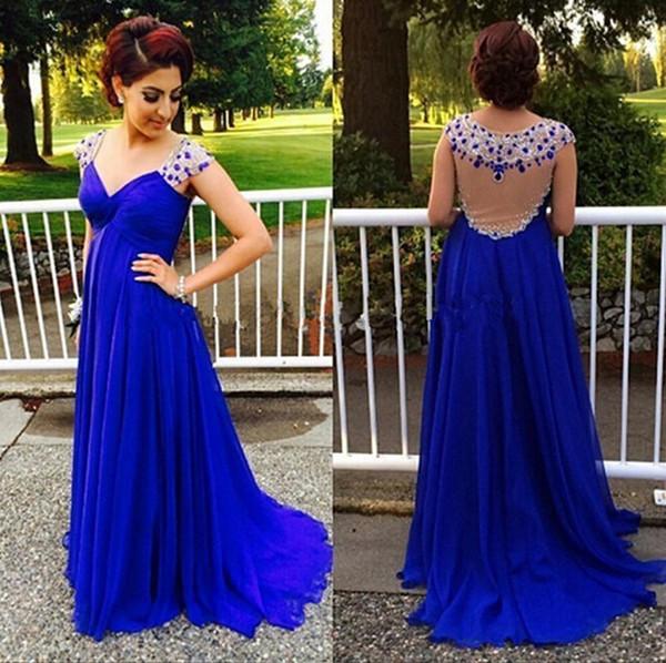 Chiffon V Neck Cap Sleeves Empire Waist Beaded Floor Length Royal Blue Evening Dresses Sheer Back Maternity Prom Gown