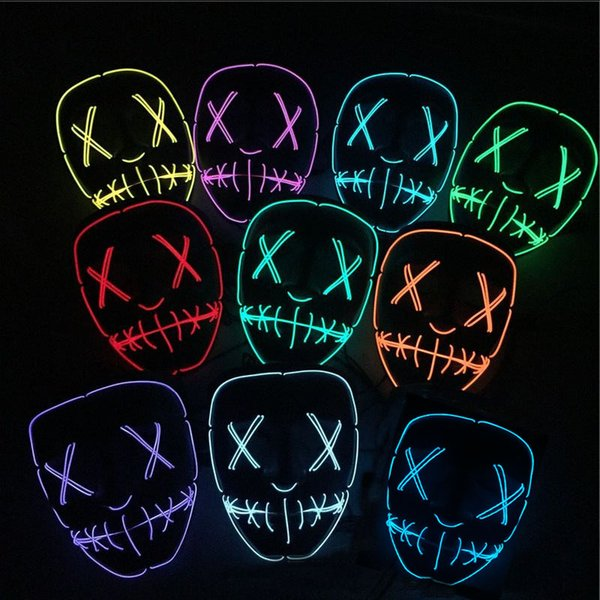 Led Halloween Mask EL Wire Light UP Glowing Mask Masquerade Cosplay Costume Party Festival Christmas Prom Mask HH7-1504
