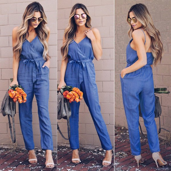 2018 Fashion Casual Women Ladies Summer Jumpsuits Sleeveless Regular Solid Blue Sashes Belt Backless Jumpsuits Romper