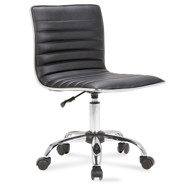 Fine 2019 Modern Mid Back Armless Ribbed Office Chair Leather Task Desk From Xiangxing668 66 33 Dhgate Com Machost Co Dining Chair Design Ideas Machostcouk