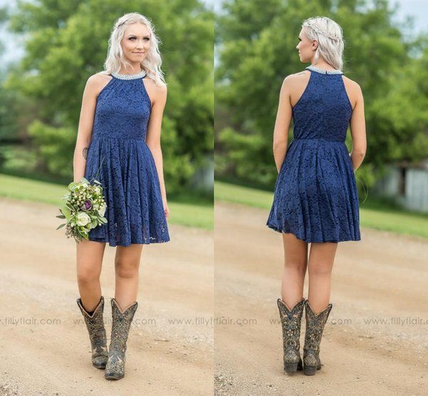 Navy Blue Pink Mint Lace Country Bridesmaid Dresses 2018 With Pearls Jewel Neck Zipper Back Western Maid of Honor Dresses Robes de fêt