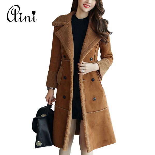 best selling Wholesale- 2017 Women Suede Leather Coats Long Double Breasted Trench Coats Female Winter Jackets Ladies Faux Sheepskin Windbreakers M-3XL