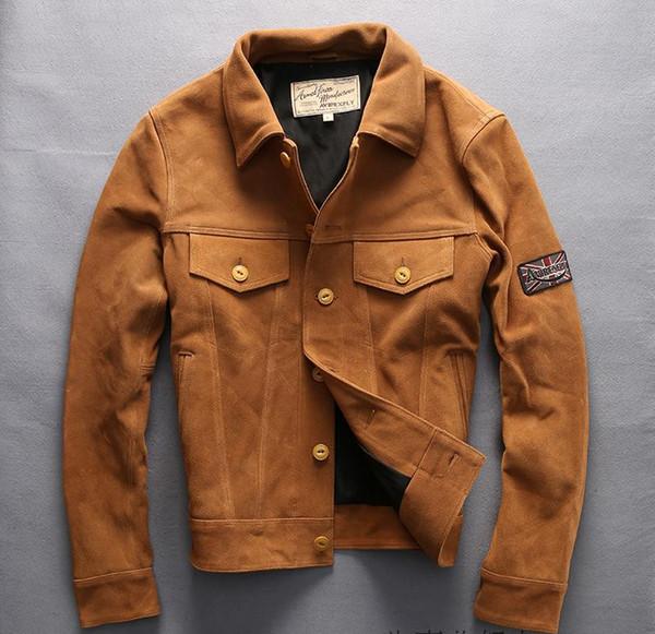 preto amarelo AVIREX FLY camurça jaquetas de couro 100% genuíno jaqueta de couro gola slim fit