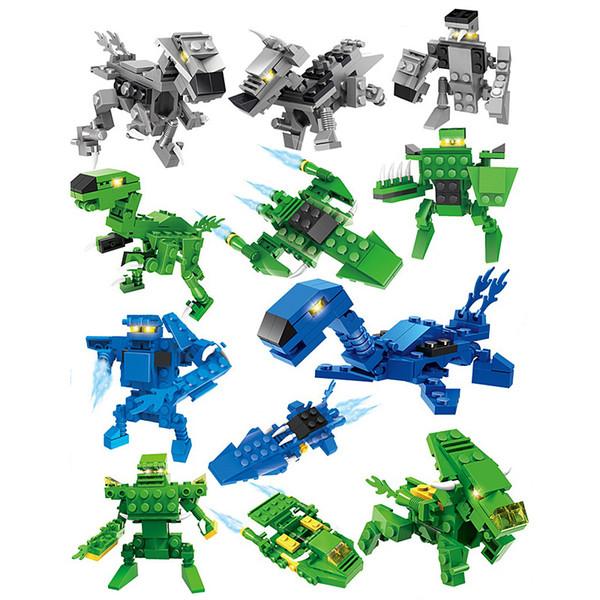 Combatientes de dinosaurios building blocks Sets Juguete de niños Ladrillos Juguetes de dinosaurio building blocks Sorpresa Twist Eggs 3 en 1