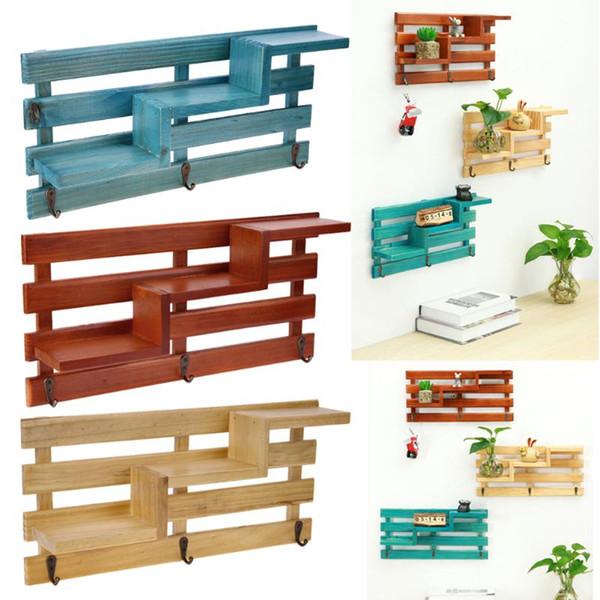 Soporte de estante de madera montado en la pared Cocina Cuarto de baño Almacenamiento Rack Organizador Pequeña llave colgante Caja de almacenamiento Decoración del hogar