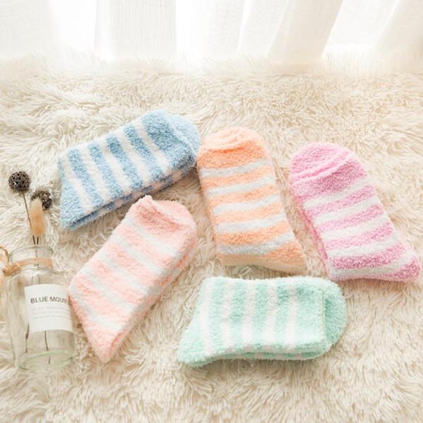 Women Striped Socks Winter Warm Sleep Bed Socks Floor Home Fluffy Coral Velvet Feet Warmer Christmas Gift Meias