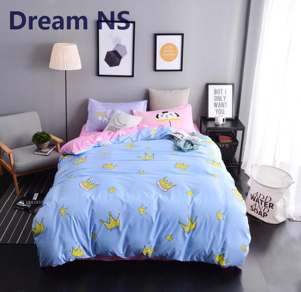 AHSNME Juego de sábanas Princess Crown Funda de edredón de fibra suave Funda de cama plana Funda de almohada Ropa de cama King Queen Juegos de cama de regalo para niños