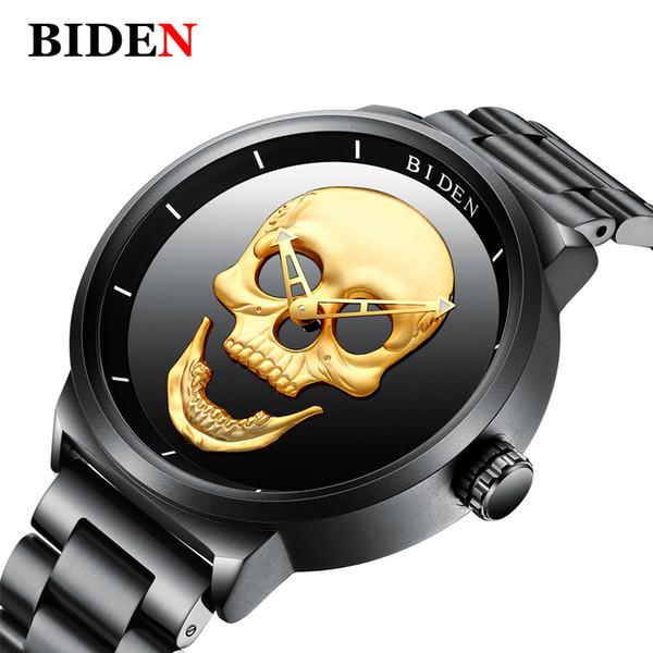Biden Homens Relógios Top Marca de Luxo Crânio Preto Relógio de Quartzo Homens de Aço Inoxidável Do Punk Elegante Relógio À Prova D 'Água homem relógio de Pulso
