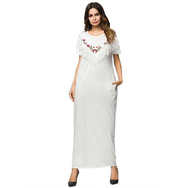 3187136 Middle East Muslim Dress Euramerica Solid White Long Skirt Knitted Round Necktile Tassel Embroidered National Dress Mujer Vestidos