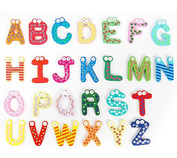26Pcs/Lot 2018 New Arrival Cartoon Fridge Wooden Magnet Baby Child Toy Puzzle English Educational Toy Alphabet 26 Letters F2097