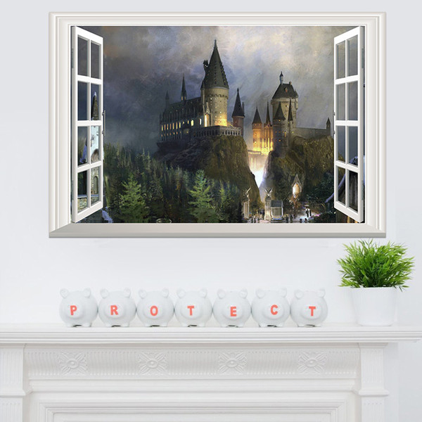 top popular Fantasy Removable Castle wall stickers for kids 3D Window View Decal Magic College Castle Wall Stickers Decor Art Mural Wallpaper 60*90cm 2021