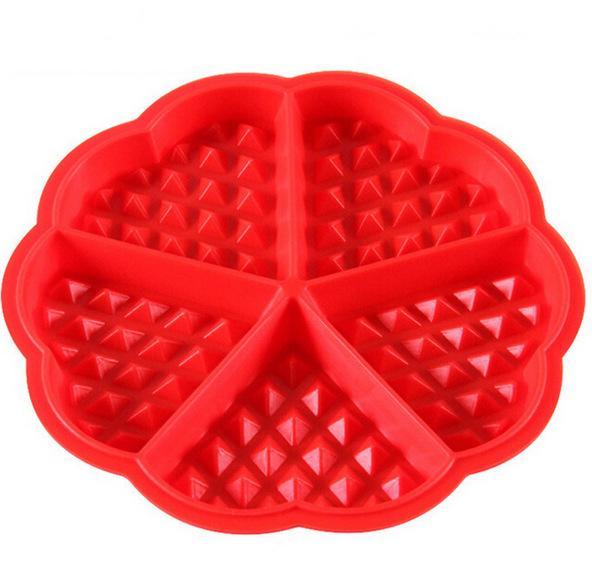 1 X Kalp şeklinde Gofretler Kalıp 5-Cavity Bundt Fırın Muffins Pişirme Kalıp Kek Pan Silikon Kalıp Aracı