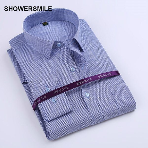 Wholesale-SHOWERSMILE Marke Kleidung Bambusfaser Shirt Mens Langarm Slim Fit formale Partei Kleid Shirt koreanische Mode Baumwolle Blending