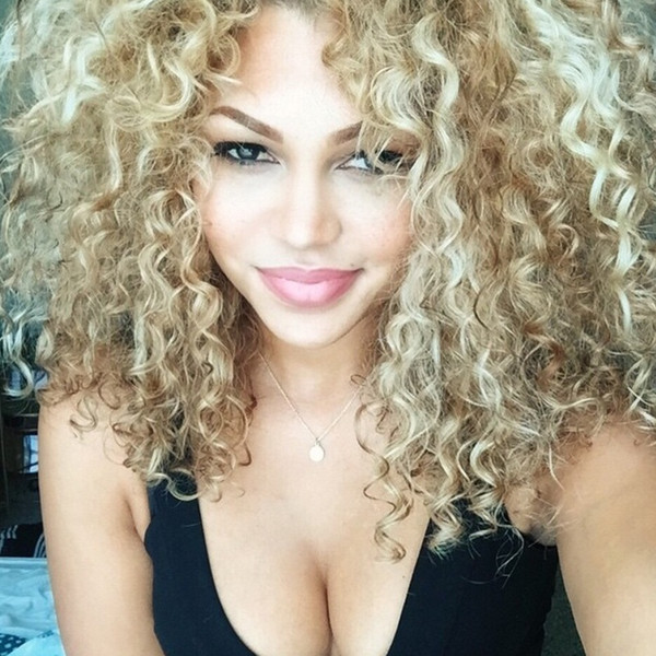 Short Blonde Kinky Curly Wig Afro American Wigs Soft Healthy Synthetic Wig For Fashion Women Color Blonde Hairstyle In Stock Long Lace Front Wigs