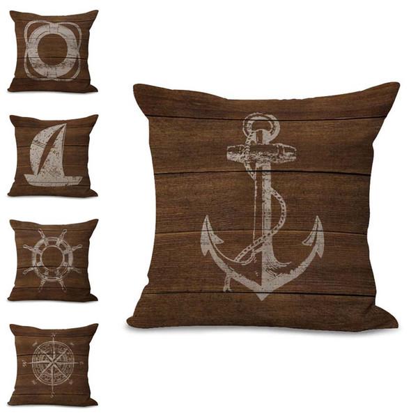 Sailing Boat Compass life Ring Throw Pillow Case Cushion cover linen cotton Square Pillowcase Cover Home sofa Decor Drop Shipping