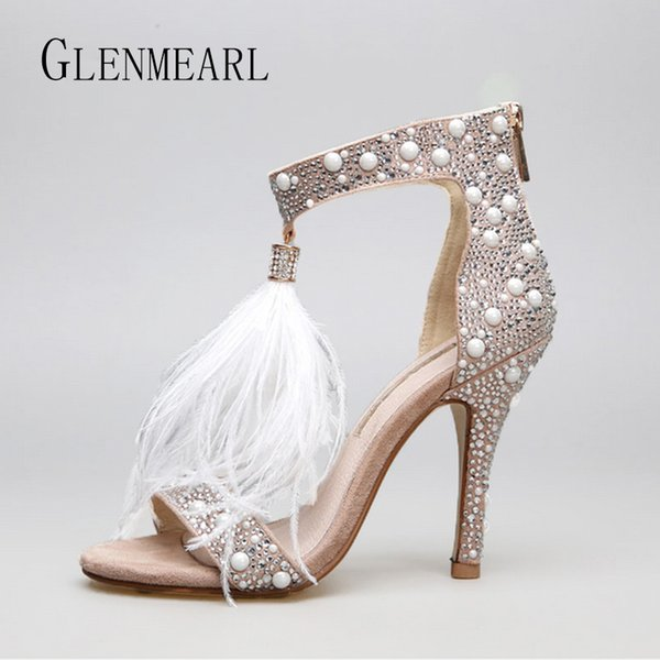 Hakiki Deri Kadın Sandalet Pompaları Yaz Marka Kürk Taklidi Tüy Yüksek Topuk Beyaz Kadın Düğün Ayakkabı Pompaları Artı Boyutu 36