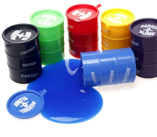 6 colores Juguete de limo pequeño o grande Novedad para niños juguetes para adultos tambores de aceite truco de pintura barril limo Día de los inocentes Halloween mordaza juguetes difíciles