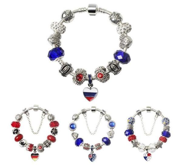 Beaded Charm Bracelets World Cup Jewelry Women National Flag Brazil Germany Spain France Wristbands Souvenir Length size 18-20cm