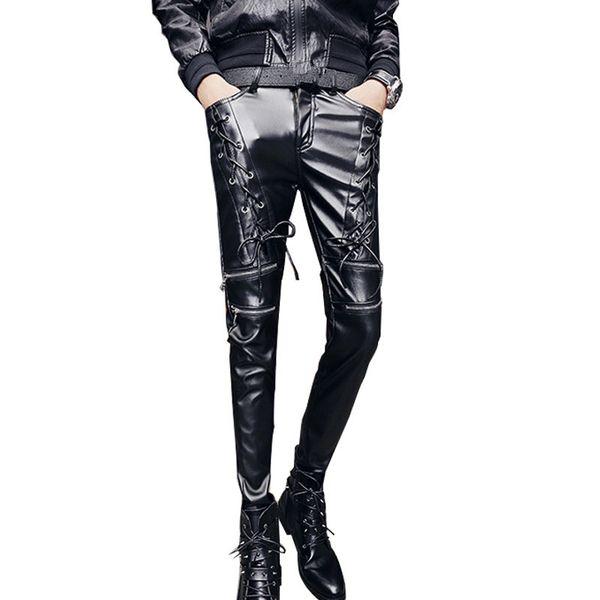 Wholesale- MORUANCLE Fashion Men's Punk Style Leather Pants Skinny Hip Hop Rock Trousers With Multi Zippers Streetwear Perform Dance Wear