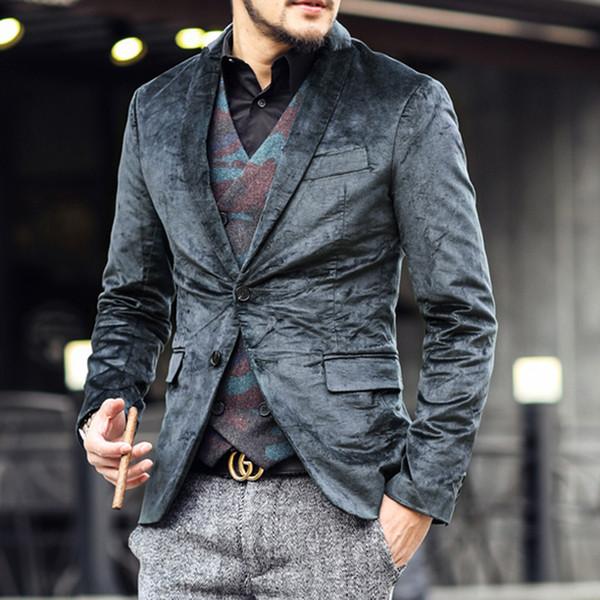 2017 Spring new velvet wedding suits jacket for men brand men's suits men's suits jacket Western-style men's casual suit jacket