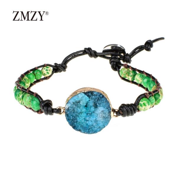 ZMZY Unique Vintage Blue Drusy Crystal Natural Stone Leather Charm Bracelets Handmade Jewelry For Women Bracelet Gift Dropship